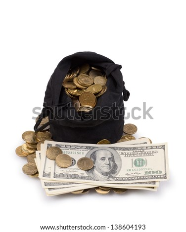 bag of gold coins and dollars isolated on a white background - stock photo
