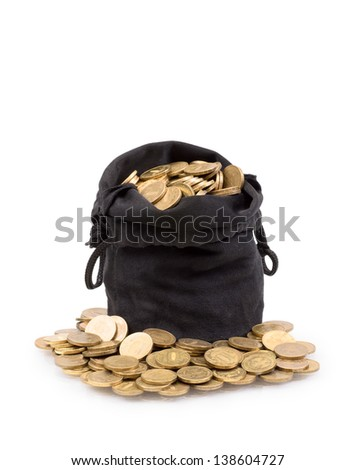 bag of gold coins isolated on a white background - stock photo