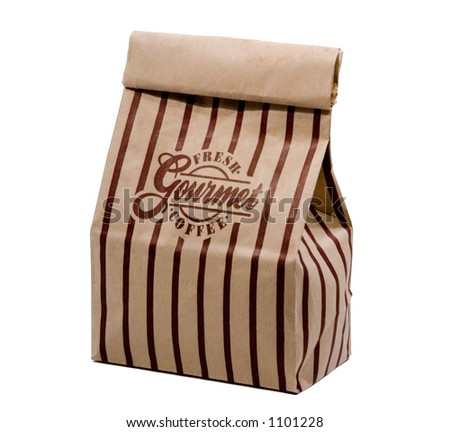 Bag of gourmet coffee isolated on white. - stock photo