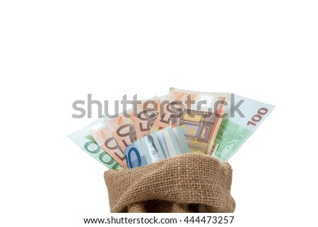 Bag of money with different euro bills isolated in studio shot on white background, have clipping path. - stock photo