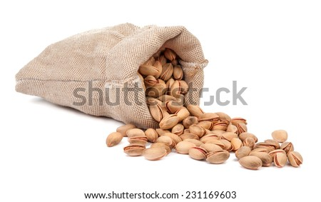 bag of pistachios isolated on a white background - stock photo