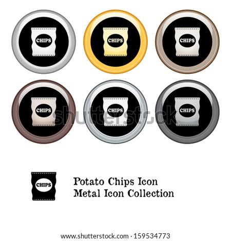 Bag of Potato Chips Icon Metal Icon Set.  Raster version. - stock photo