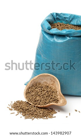 Bag of rabbit feed on white background - stock photo