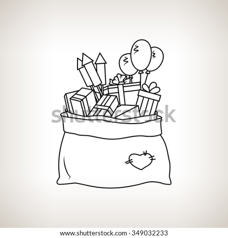 Bag of Santa Claus with Gifts on a Light  Background, a Bag with Gifts and Firecrackers and Balloons, Drawing in Linear Style ,  Black and White  Illustration - stock photo