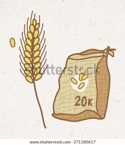 bag of wheat and cereal plant - stock photo