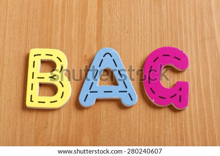 BAG, spell by woody puzzle letters with woody background - stock photo