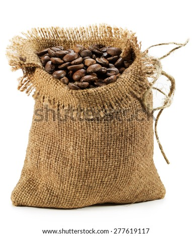 bag with coffee beans isolated on the white background - stock photo