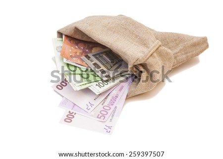 Bag with euro banknotes isolated on  white background - stock photo