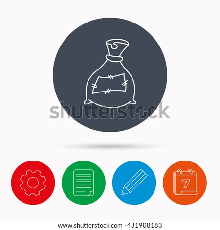 Bag with fertilizer icon. Fertilization sack sign. Farming or agriculture symbol. Calendar, cogwheel, document file and pencil icons. - stock photo