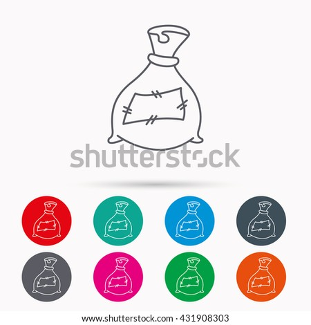 Bag with fertilizer icon. Fertilization sack sign. Farming or agriculture symbol. Linear icons in circles on white background. - stock photo