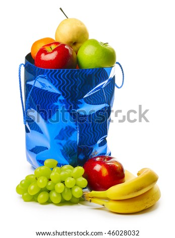 Bag with fruits over white - stock photo