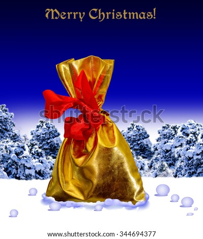 Bag with gifts on snow.The scene in the forest. Merry Christmas! Happy New Year! - stock photo