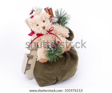 bag with gifts Santa Claus - Bear, sledge. gifts. Children's joy and dreams. White background - stock photo