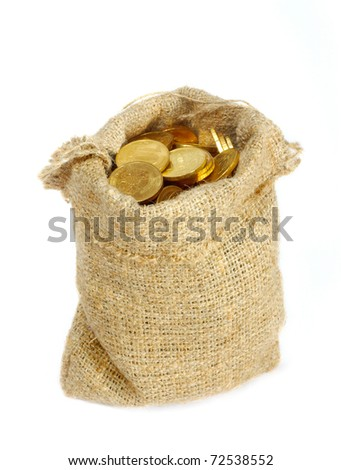 Bag with gold coins - stock photo