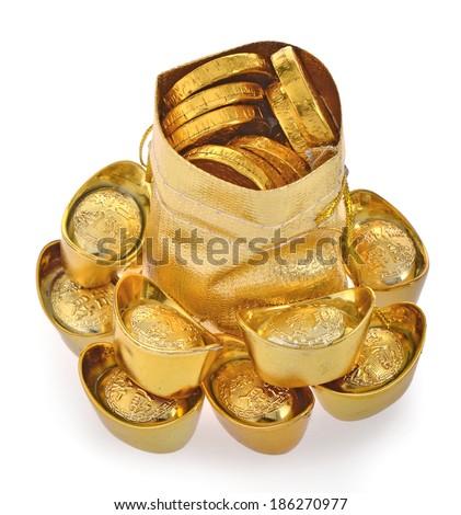 Bag with gold ingot isolated on white background - stock photo