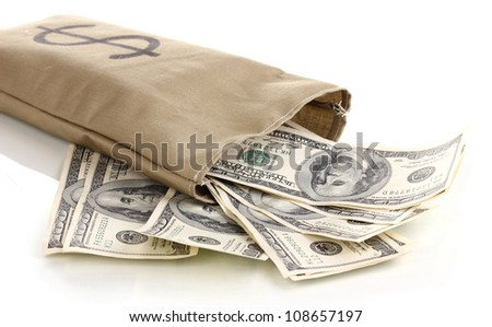 Bag with money close-up isolated on white - stock photo