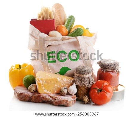 Bag with organic products isolated on white - stock photo