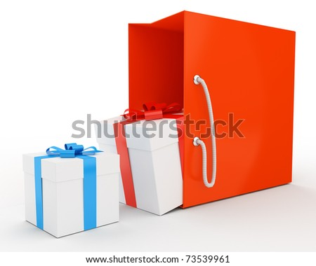 bag with some gifts isolated over white - stock photo