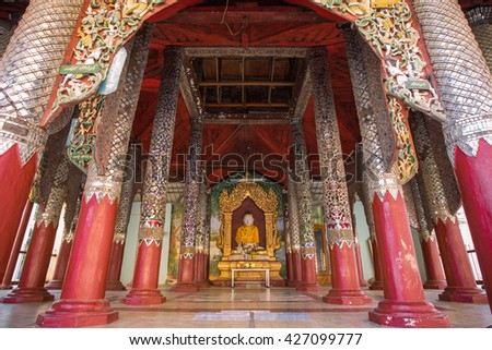 Bagan,Myanmar-December 13 2015 ; The wood chapel of Buddha in Schwezigon pagoda , Schwezigon temple is most important of Myanmar 1 in 5 holy temple , Bagan Myanmar. - stock photo