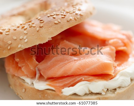 bagel and lox - stock photo