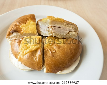 Bagel bread with ham and cheese - stock photo