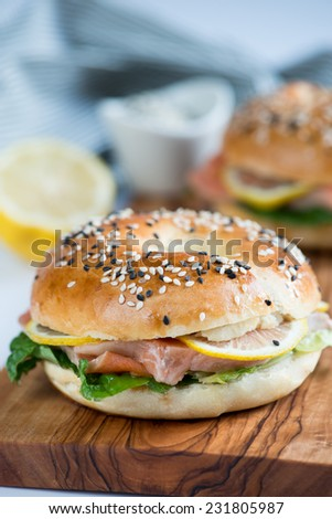 Bagel with salted salmon - stock photo