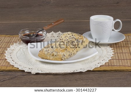 Bagel with seeds - stock photo