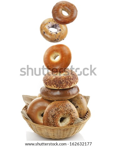 Bagels In A Basket On White Background - stock photo