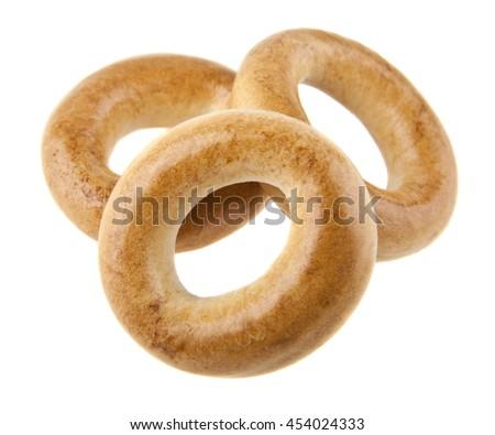 bagels isolated on white background - stock photo
