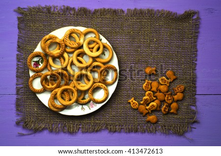 bagels on a wooden table. Rustic style. Top view - stock photo