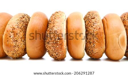 Bagels On White Background  - stock photo