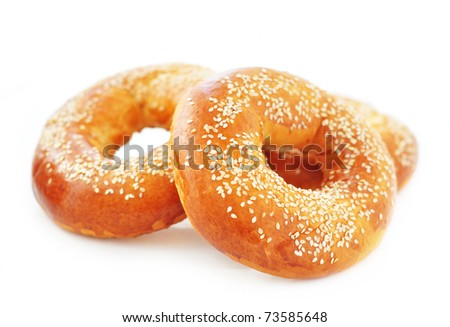 Bagels with sesame seed - stock photo
