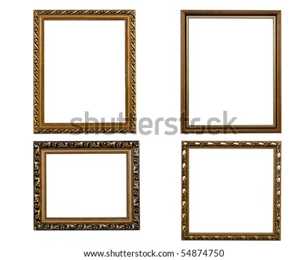 Baget frames placed on a white background isolated - stock photo