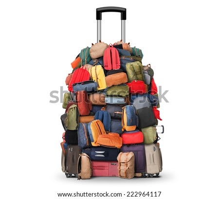 Baggage, a very large pile of bags, backpacks and suitcases - stock photo