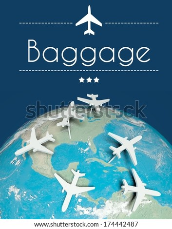 Baggage concept, airplanes on globe - stock photo