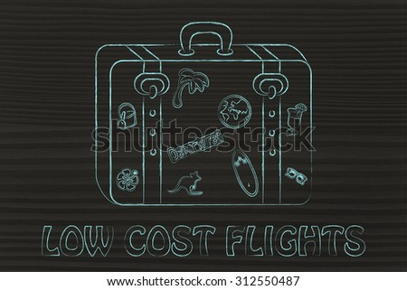 baggage with summer inspired stickers, low cost flight - stock photo