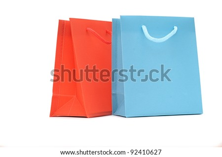 Bags for shopping on white - stock photo