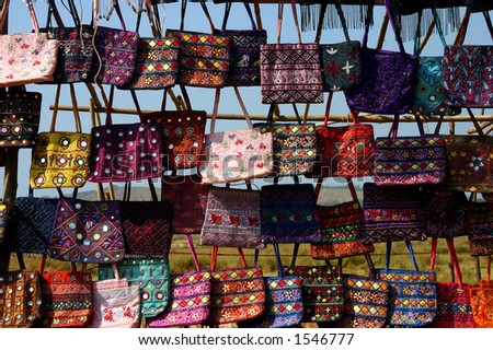 Bags in the market, Goa India. - stock photo