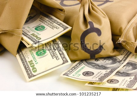 Bags with money close-up isolated on white - stock photo