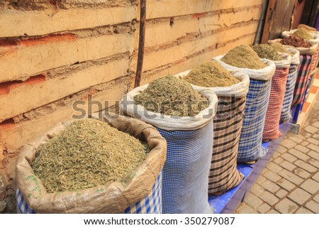 Bags with spices on moroccan market, Marrakech - stock photo
