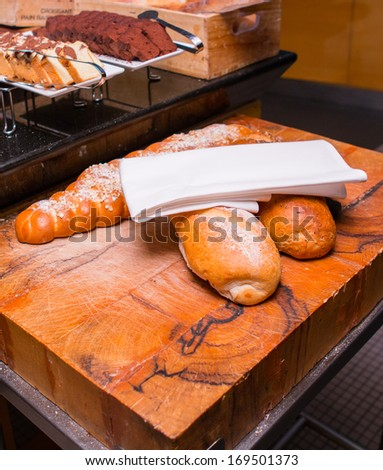 Baguette at the buffet line.  - stock photo