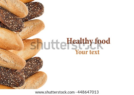 Baguette bread of different varieties on a white background. Rye, wheat and whole grain bread. Isolated. Decorative frame of bread. Food background. Copy space. - stock photo