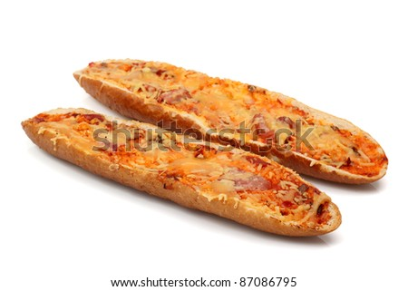 Baguette with champignons and cheese - stock photo