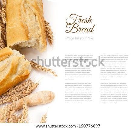 baguettes isolated over white - stock photo