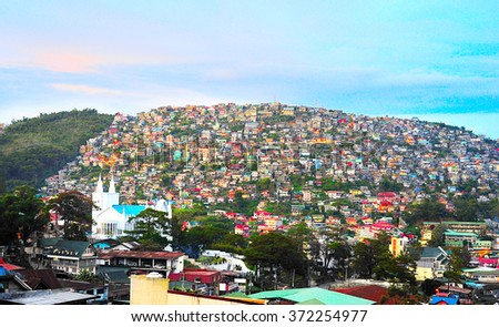 Baguio city at dusk, Luzon Island, Philippines  - stock photo