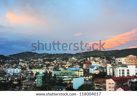 Baguio city at sunset, Luzon Island, Philippines - stock photo