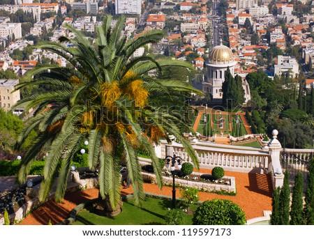 Bahai garden and temple in Haifa, Israel - stock photo