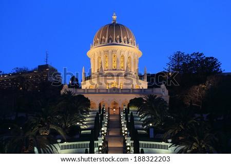 Bahai temple, Haifa, Israel at twilight - stock photo