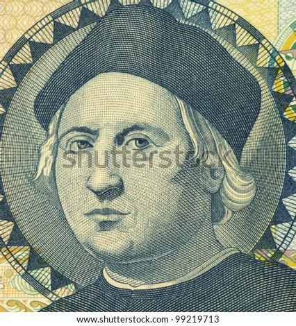 BAHAMAS - CIRCA 1992: Christopher Columbus (1451-1506) on 1 Dollar 1992 Banknote from Bahamas. Italian explorer, colonizer and navigator. - stock photo