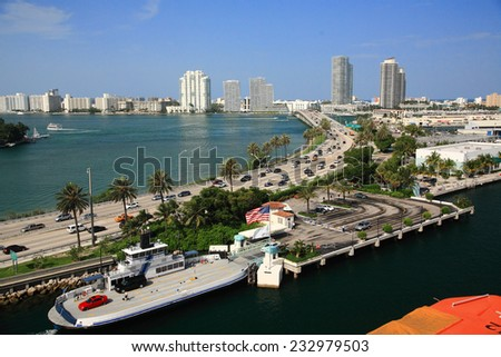 Bahamas pier landscape in Nassau city , Caribbean - stock photo